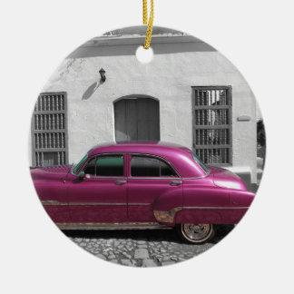 Cuban Cars 4 Round Ceramic Ornament