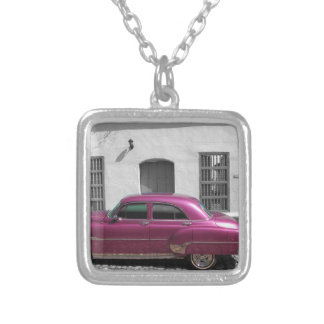 Cuban Cars 4 Silver Plated Necklace