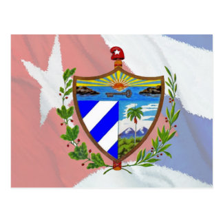 Cuban Coat of Arms on Cuban Flag Postcard
