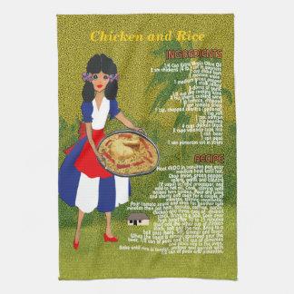 Cuban Cuisine Recipe Kitchen Towel-Chicken & Rice Kitchen Towel