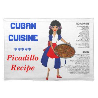 Cuban Cuisine Recipe Placemat - Picadillo English