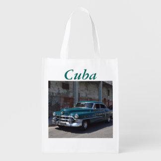 Cuban Flag Cuba Old Car Reusable Grocery Bag