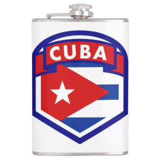 Cuban Flag Shield Hip Flask