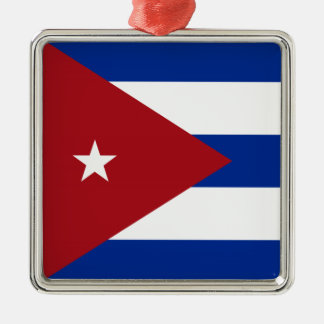 Cuban Flag Silver-Colored Square Ornament