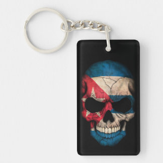 Cuban Flag Skull on Black Keychain