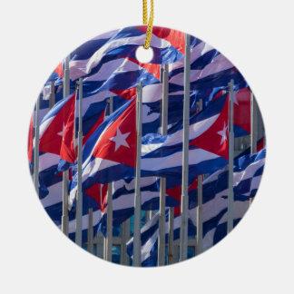 Cuban flags, Havana, Cuba Ceramic Ornament