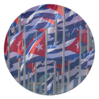Cuban flags, Havana, Cuba Dinner Plate