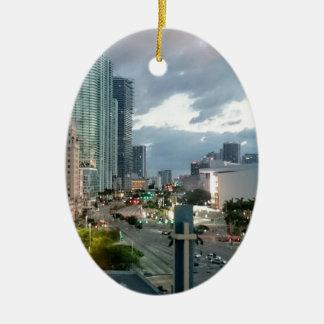 Cuban Freedom Tower in Miami 2 Ceramic Oval Ornament