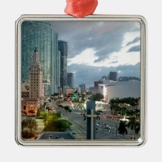 Cuban Freedom Tower in Miami 2 Silver-Colored Square Ornament