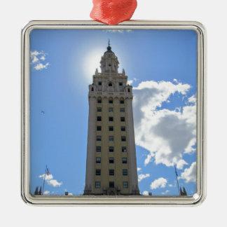 Cuban Freedom Tower in Miami 4 Silver-Colored Square Ornament