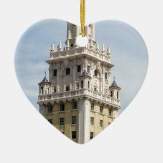 Cuban Freedom Tower in Miami Ceramic Heart Ornament
