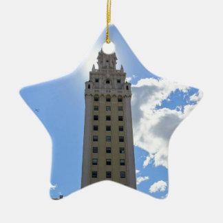 Cuban Freedom Tower in Miami Ceramic Star Ornament