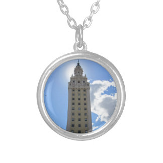 Cuban Freedom Tower in Miami Silver Plated Necklace