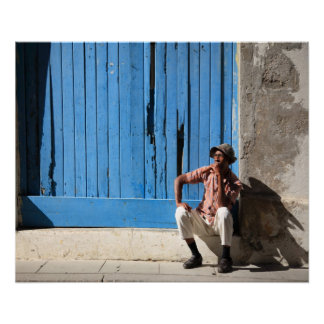 Cuban man and his cigar poster