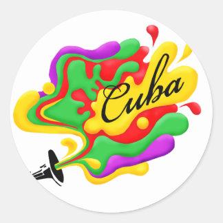 Cuban Music Round Sticker