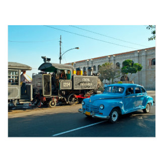 Cuban steam and car postcard