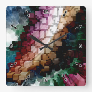 Cube Centric Dark Wind Square Wall Clock