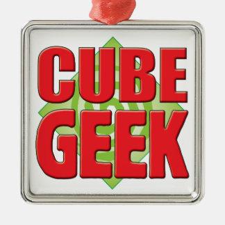 Cube Geek v2 Silver-Colored Square Ornament