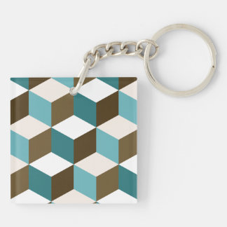 Cube Lg Ptn Teals Brown Cream & White Double-Sided Square Acrylic Keychain