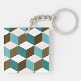 Cube Lg Ptn Teals Brown Cream & White Keychain
