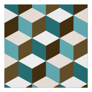Cube Lg Ptn Teals Brown Cream & White Poster