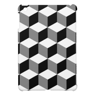 Cube Pattern Black White & Grey iPad Mini Case