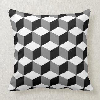 Cube Pattern Black White & Grey Throw Pillow
