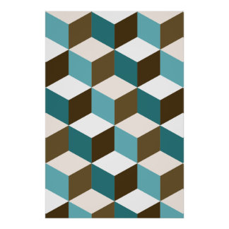 Cube Pattern Teals Browns White Poster