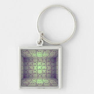 Cube perspective made of puzzles keychain