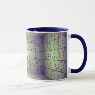 Cube perspective made of puzzles mug
