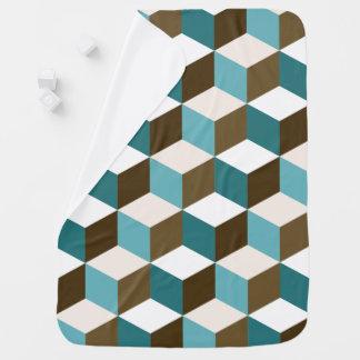 Cube Ptn Teals Brown Cream & White Baby Blanket
