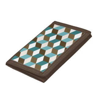 Cube Ptn Teals Brown Cream & White Trifold Wallet