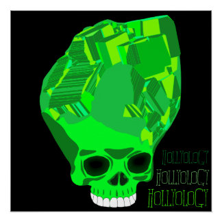 Cube Skull Green Perfect Poster