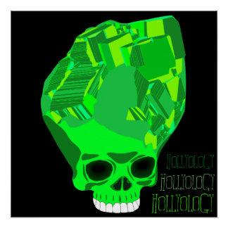 Cube Skull Green Poster