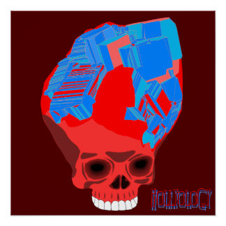 Cube Skull Red Cool Poster