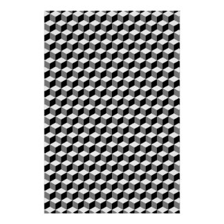 Cube Small Repeat Pattern Black White & Grey Poster