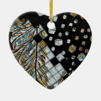 Cubed Abstract Feathers Ceramic Ornament
