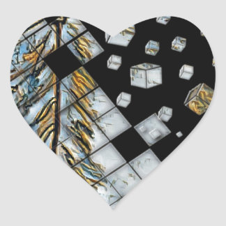 Cubed Abstract Feathers Heart Sticker
