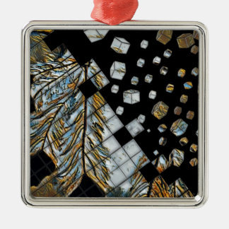 Cubed Abstract Feathers Metal Ornament