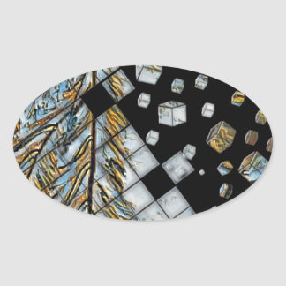 Cubed Abstract Feathers Oval Sticker