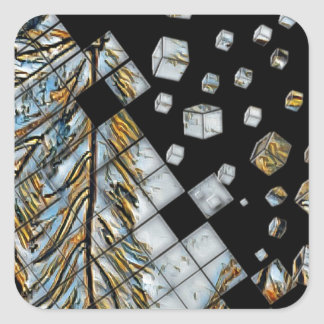 Cubed Abstract Feathers Square Sticker