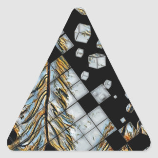 Cubed Abstract Feathers Triangle Sticker