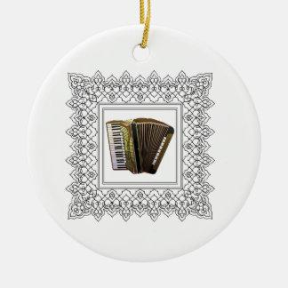 cubed accordion round ceramic ornament