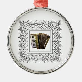 cubed accordion Silver-Colored round ornament