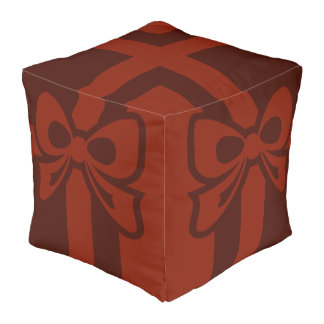 Cubed Comforter, Red Bow Design Pouf