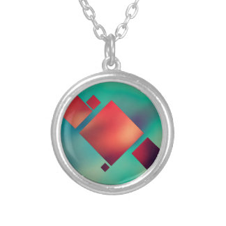Cubed In Surrealism Silver Plated Necklace