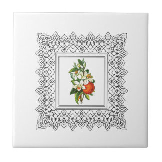 cubed orange bouquet tile