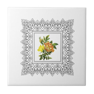 cubed yellow flowers ceramic tiles