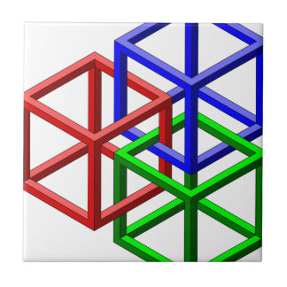 Cubes Impossible Geometry Optical Illusion Ceramic Tiles