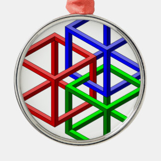 Cubes Impossible Geometry Optical Illusion Metal Ornament